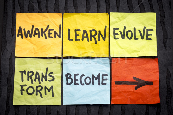 awaken, learn, evolve, transform and become concept Stock photo © PixelsAway