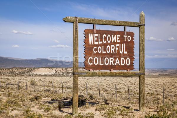 Bem-vindo Colorado beira da estrada assinar fronteira Foto stock © PixelsAway
