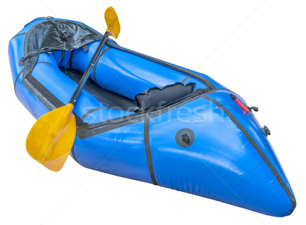blue packraft with paddle isolated Stock photo © PixelsAway