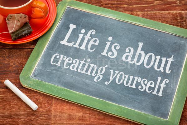 Leven jezelf tekst Blackboard krijt Stockfoto © PixelsAway