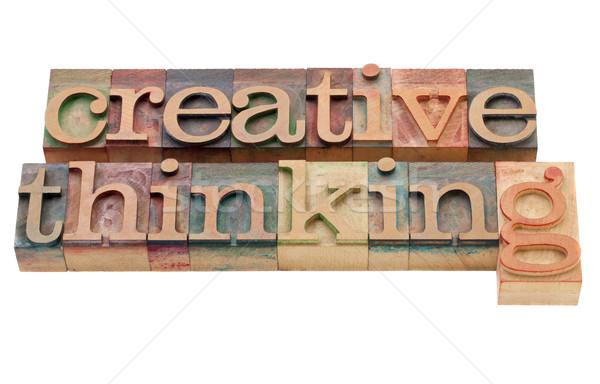 Creatief denken geïsoleerd vintage hout Stockfoto © PixelsAway