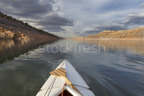 canoe on mountain lake Stock photo © PixelsAway