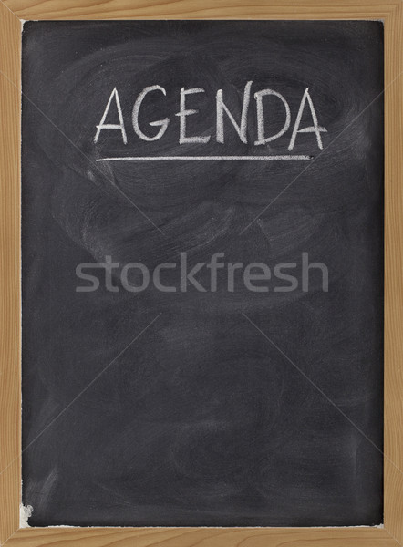 agenda - blank blackboard sign Stock photo © PixelsAway