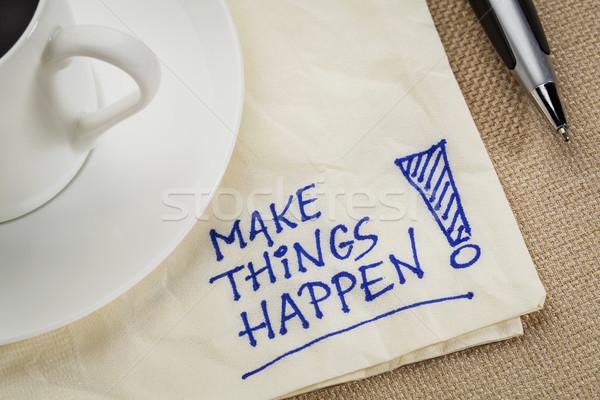 Coisas motivacional lembrete letra guardanapo Foto stock © PixelsAway