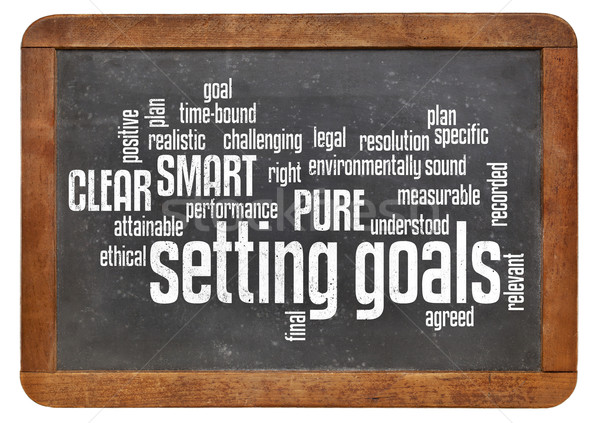 setting goals word cloud on blackboard Stock photo © PixelsAway
