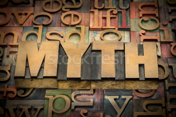 Stock photo: myth word in wood type
