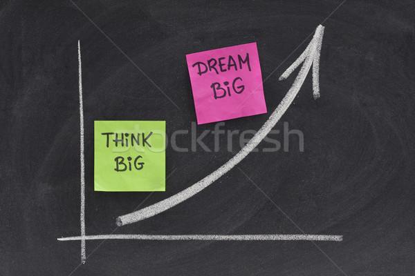 Gondolkodik nagy álom iskolatábla jelmondat növekvő Stock fotó © PixelsAway
