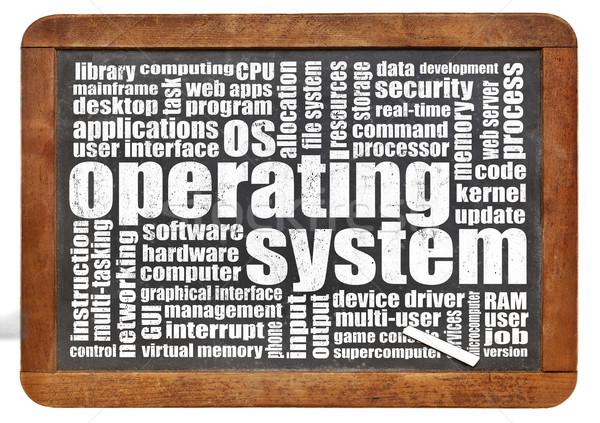 Besturingssysteem woordwolk geïsoleerd vintage Blackboard krijt Stockfoto © PixelsAway