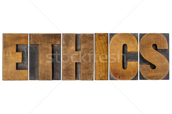ética palabra tipografía madera tipo aislado Foto stock © PixelsAway