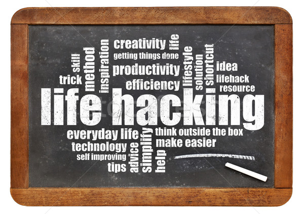 élet hackelés szófelhő izolált klasszikus iskolatábla Stock fotó © PixelsAway