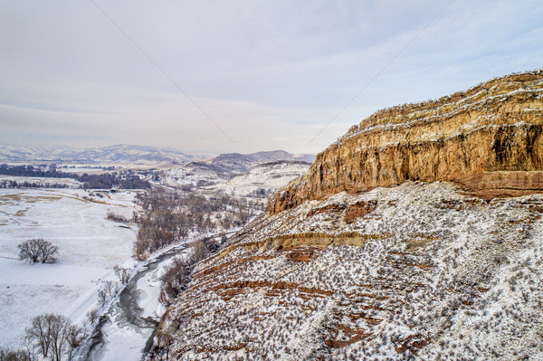 sandstone cliff and river aerial view Stock photo © PixelsAway