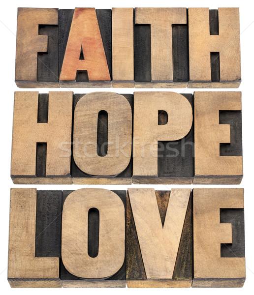 Wiary nadzieję miłości typografii kolaż odizolowany Zdjęcia stock © PixelsAway