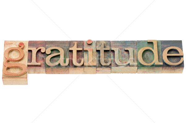 gratitude word in wood type Stock photo © PixelsAway