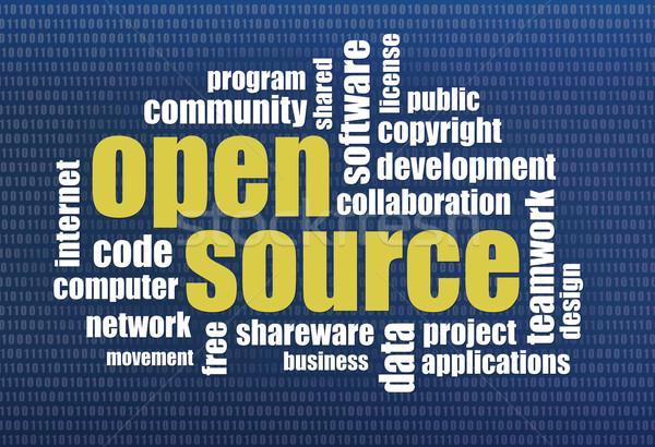 открытых источник слово облако программное развития двоичный Сток-фото © PixelsAway