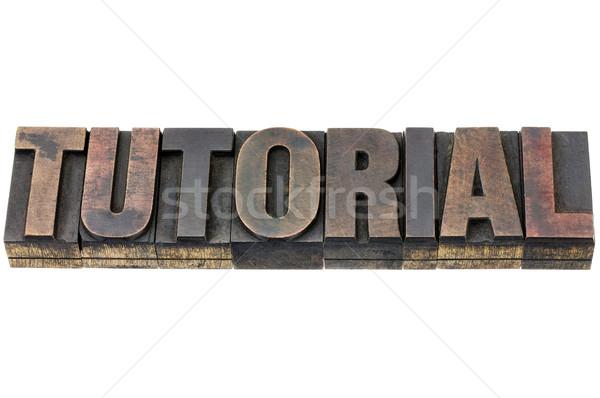 Eğitimi kelime ahşap tip yalıtılmış bağbozumu Stok fotoğraf © PixelsAway