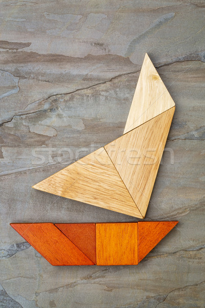 abstract yacht from tangram puzzle Stock photo © PixelsAway
