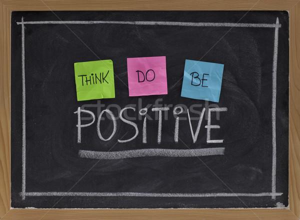 Pensar positivo positividad color notas adhesivas blanco Foto stock © PixelsAway