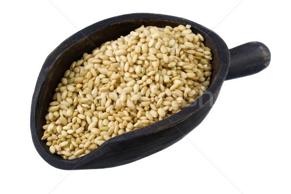 Stockfoto: Schep · zoete · bruin · rijst · houten · donkere