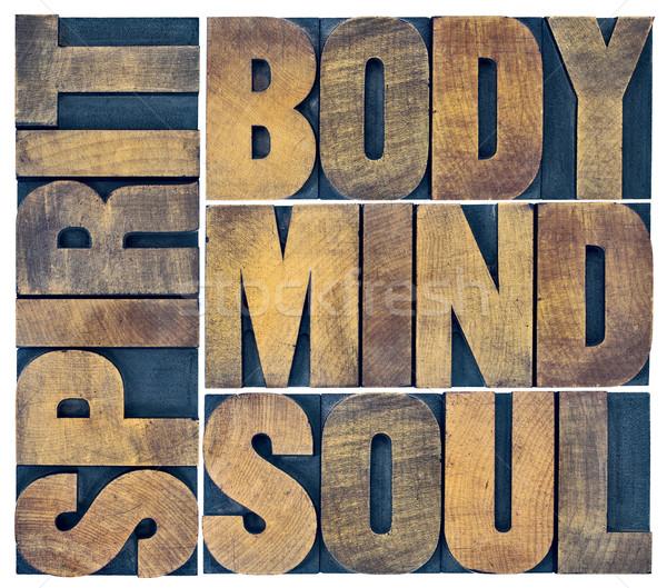 Vücut akla ruh ruh ahşap tip Stok fotoğraf © PixelsAway