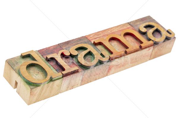 Drama woord hout type geïsoleerd tekst Stockfoto © PixelsAway