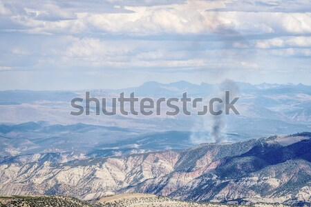 smoke plume from controlled forest burn Stock photo © PixelsAway