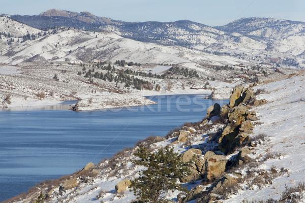 горные озеро зима декораций водохранилище форт Сток-фото © PixelsAway