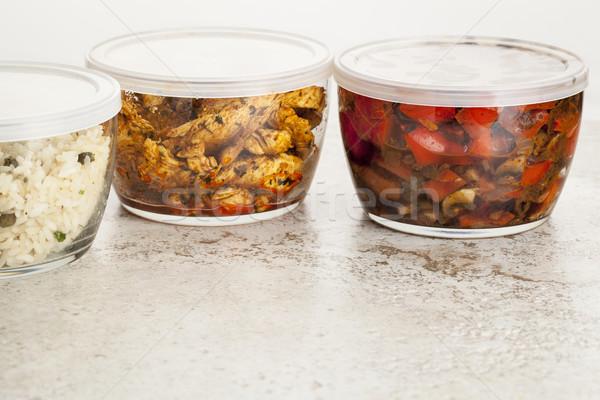 Vacsora étel üveg keverés maradék fa Stock fotó © PixelsAway