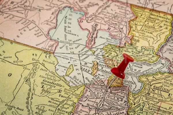 Stockfoto: Meer · stad · vintage · kaart · zout · groot