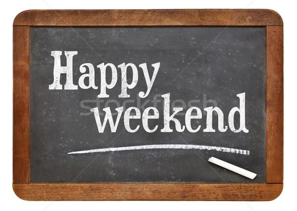 Szczęśliwy weekend tablicy biały kredy tekst Zdjęcia stock © PixelsAway