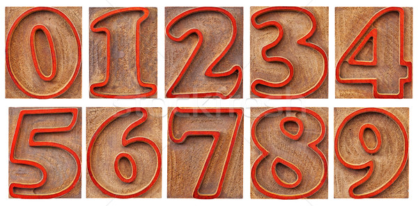 numbers in outlined letterpress type Stock photo © PixelsAway