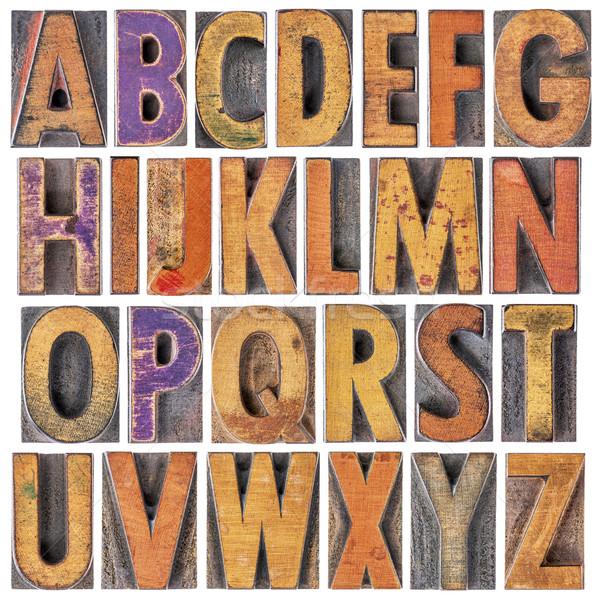 Angielski alfabet drewna typu 26 odizolowany Zdjęcia stock © PixelsAway