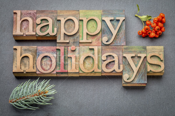 Stock photo: Happy Holidays in wood type