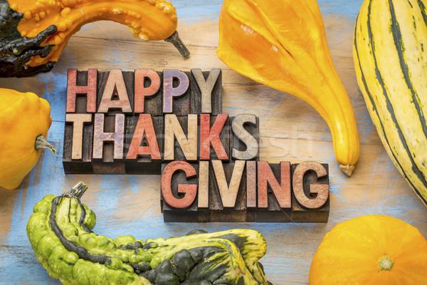 Happy Thanksgiving in wood type Stock photo © PixelsAway