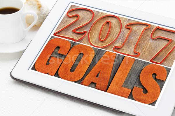 2017 goals on digital tablet Stock photo © PixelsAway