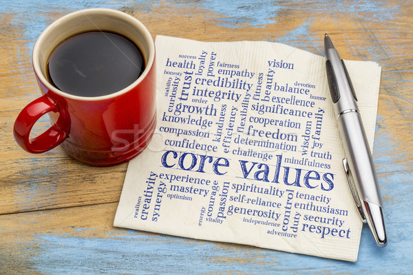 Core valeurs nuage de mots serviette café possible Photo stock © PixelsAway