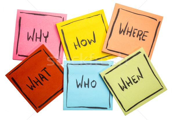ストックフォト: ブレーンストーミング · 意思決定 · 質問 · 付箋 · 何 · 不確実性