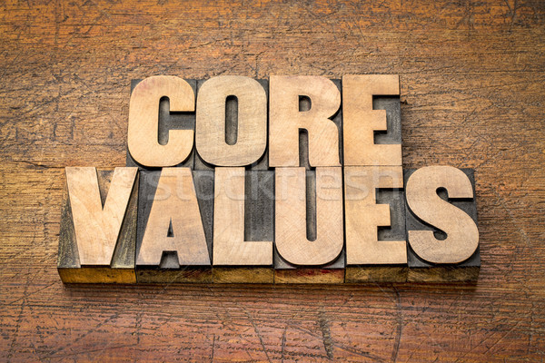core values word abstract in vintage wood type Stock photo © PixelsAway