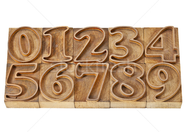 outlined numbers in wood type Stock photo © PixelsAway