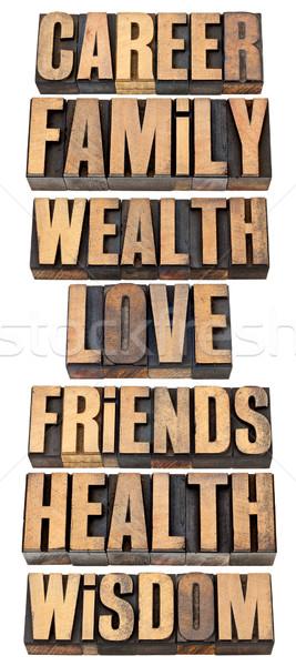 life values list in wood type Stock photo © PixelsAway