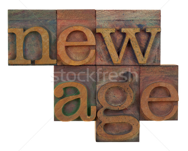 new age in wooden type Stock photo © PixelsAway