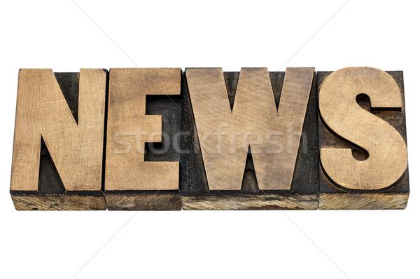 Noticias palabra madera tipo aislado texto Foto stock © PixelsAway