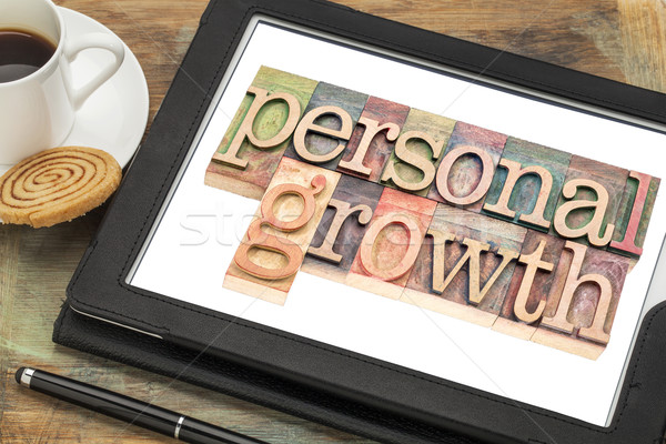 personal growth typography on tablet Stock photo © PixelsAway