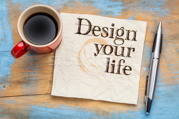 Projektu życia serwetka rada sugestia kubek Zdjęcia stock © PixelsAway