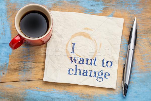 Apró nyilatkozat szalvéta kézírás csésze kávé Stock fotó © PixelsAway