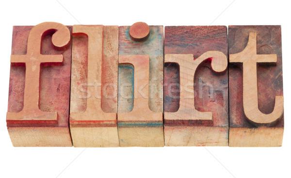 Flört magasnyomás izolált szó klasszikus Stock fotó © PixelsAway