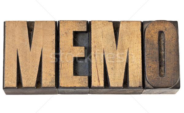 Foto stock: Memorándum · palabra · madera · tipo · memorando · aislado