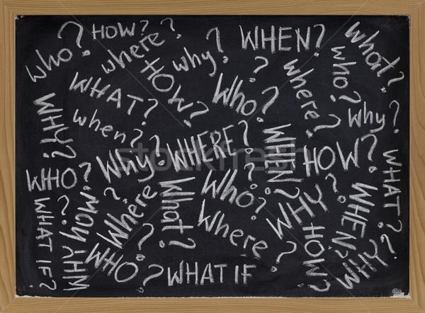 Zdjęcia stock: Pytania · tablicy · co · biały · kredy · pismo