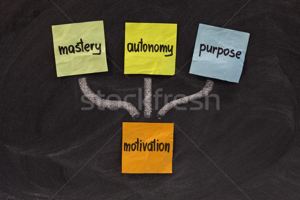 Propósito motivación tres elementos colorido notas adhesivas Foto stock © PixelsAway