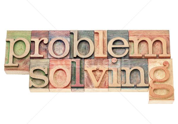 Problémamegoldás izolált szavak klasszikus magasnyomás fa Stock fotó © PixelsAway