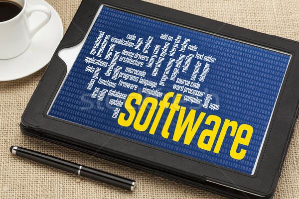 Software de computador nuvem da palavra zero um binário digital Foto stock © PixelsAway